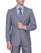 Mens Stripe Authentic Giorgio Fiorelli Brand suits Flat Front Pants