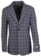Boys Notch Lapel Gingham Designed Linen Blazer Gray