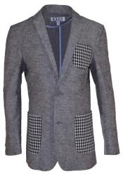 Boys 2 Button Notch Lapel Gray Linen Blazer