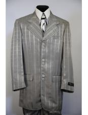 stripe Single Breasted gray long suit