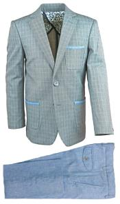 Single Breasted Gray Kids Sizes 2 Pc Linen Suit And Pant