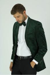 Mens Classic Fit Green Velvet Trim Single Breasted Shawl Lapel Jacket