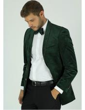 Mens Single Breasted Green Velvet Tuxedo Dinner Jacket Rhinestone Style Blazer