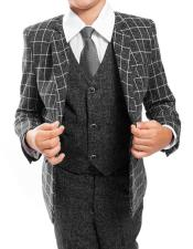 ~ Kids ~ Children Toddler Plaid ~ Windowpane Pattern Kids Sizes Vested Grey/Black Suit 3 Peice Matching