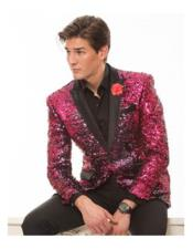 Shawl Black Lapel Groom Tuxedos Hot Pink ~ Fuchsia Suits Wedding Dinner Party Wear (Jacket+Pants+Tie)