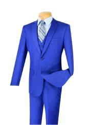 Mens Indigo ~ Bright Blue 3 Piece 100% Wool Executive Suit -