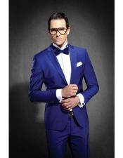 Blue Slim Fit Notch Lapel Dress Suits for Men