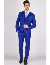 Blue Notch Lapel Slim Fit Suits for Men