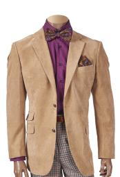 Mens Sueded Notch Lapel Khaki 2 Button Single Breasted Blazer