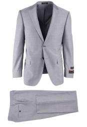 brand Mens Wool Light Gray Herringbone Novello Modern Fit Luxe Fine