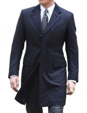 Single Breasted Cotton Navy Blue coat