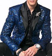 Nardoni Brand Fashion Mens Sequin Paisley Navy Blue ~ Black Dinner Jacket Tuxedo Blazer Glitter Sparkly Sport
