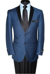 Notch Lapel Two Button Navy Blue Blazer Jacket