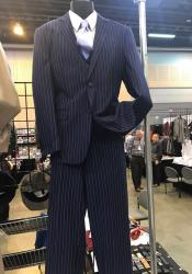 Navy Blue Suit For Men Vittorio St Angelo 2 Button Pinstripe
