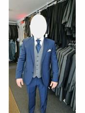 Navy Blue Suit For Men With Grey Vest  Vested 3 Piece