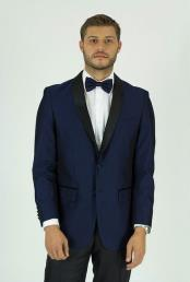 Navy Single Breasted Shawl Lapel Side Vents Classic Fit Jacket
