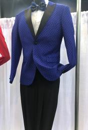 Mens Vittorio St Angelo Peak Lapel Dotted Pattern Dark Navy Suit