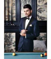 1 Button Navy Peak Lapel Modern Fit Single Breasted Tuxedo