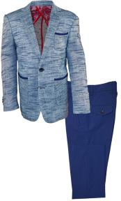 2 Button Single Breasted Kids Sizes Notch Lapel Navy 2 Pc Linen Suit And Pant