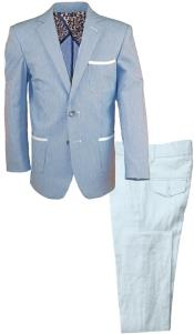 Single Breasted Kids Sizes Notch Lapel 2 Pc Navy Linen Suit And Pant
