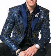 Mens Sequin Paisley Alberto Nardoni Brand Glitter Sparkly Navy ~ Gold Dinner Jacket Tuxedo Blazer Sport Coat