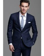 navy suit grey tie