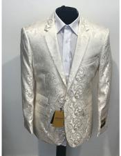 Nardoni Brand Mens 1 Button Single Breasted Notch Lapel Cream ~ ivory ~ Off White Blazer Dinner