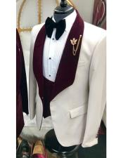 Nardoni White and Burgundy ~ Wine ~ Maroon Color Velvet Lapel Vested Tuxedo Suit Shawl collar