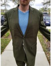 Medium Olive Green 2 Buttons Suit Pleated Pants Notch Lapel