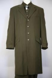 Wire Lace Stylish Single Breasted Flap Pocket Olive Zoot Suit
