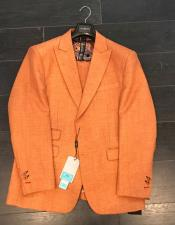 Mens Two Buttons Orange Linen ~ Cotton Peak Lapel Suit Ticket Pocket