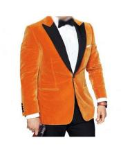 Men's Black Peak Lapel Single Breasted Orange Velvet tuxedo
