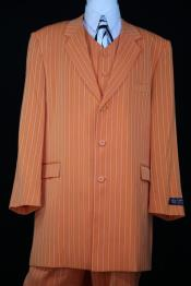 Mens Razor Stripe Notch Lapel Orange Zoot Suit
