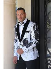 fashion paisley print tuxedo Sequin ~ Shiny ~ Flashy ~ Shark skin white Blazer Dinner Jacket