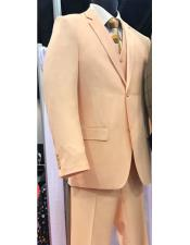 Peach ~ Coral 3 Piece Suit 2 button Vested Suit