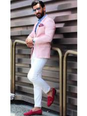 Mens Notch Lapel Slim Fit Single Breasted Pink Blazer Linen Summer Fabric