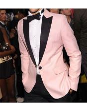 Alberto Nardoni Brand Baby Pink Velvet Tuxedo Dinner Jacket Blazer Sport coat