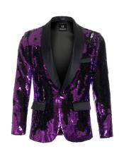high fashion sequin Purple ~ Black blazer