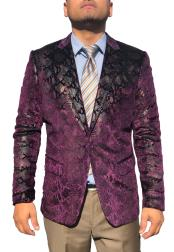 Mens Snake skin Alligator Crocodile Jacket Fashion Blazer Purple