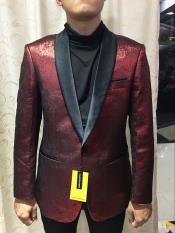 Nardoni Brand Shiny Textured Party Dinner Jacket Cheap Priced Blazer Jacket For Men in Red $199