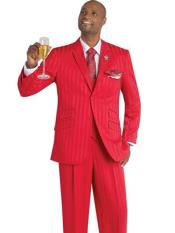 Notch Lapel Red 3 Piece Single Breasted Striped Suit