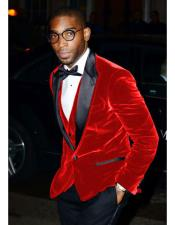 Nardoni Brand Mens Red Velvet Tuxedo Cheap Priced velour Blazer Jacket For Men ~ Sport coat -