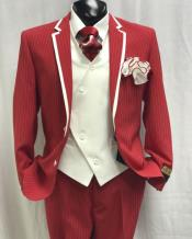 Mens Red and White Stripe Two Toned Vested Tuxedo