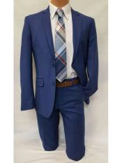 Slim Fit Notch Lapel 2 Piece Casual Single Breasted Royal Blue