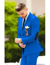 suit jacket with elbow patches Matching Free pants Royal Blue (Slim