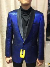 Blue $199 ~ Floral PatternShiny Textured Alberto Nardoni Brand Dinner Jacket