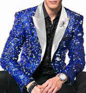 Nardoni Brand Fashion Mens Royal ~ White Sequin paisley Dinner Jacket Tuxedo Blazer glitter sparkly Sport coat