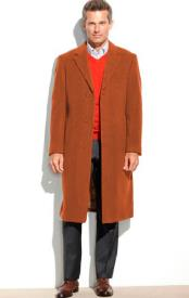 65% Wool full length Notch Lapel Overcoat ~ Topcoat Rust (Cashmere Touch (not cashmere))