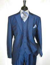 mens high fashion Single Breasted Sharkskin Blue vested suit