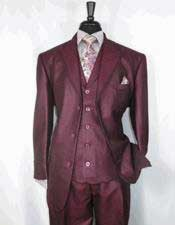 Mens Sharkskin Burgundy ~ Wine ~ Maroon Suit Cheap Priced Business Suits
